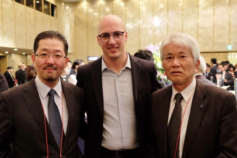 左から名古屋大学小児科 高橋教授、ローマ大学 Algeri先生、名古屋大学 小島名誉教授
