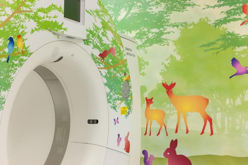CT検査室 テーマ「森と動物たち」名古屋大学医学部附属病院 クラウドファンディグ